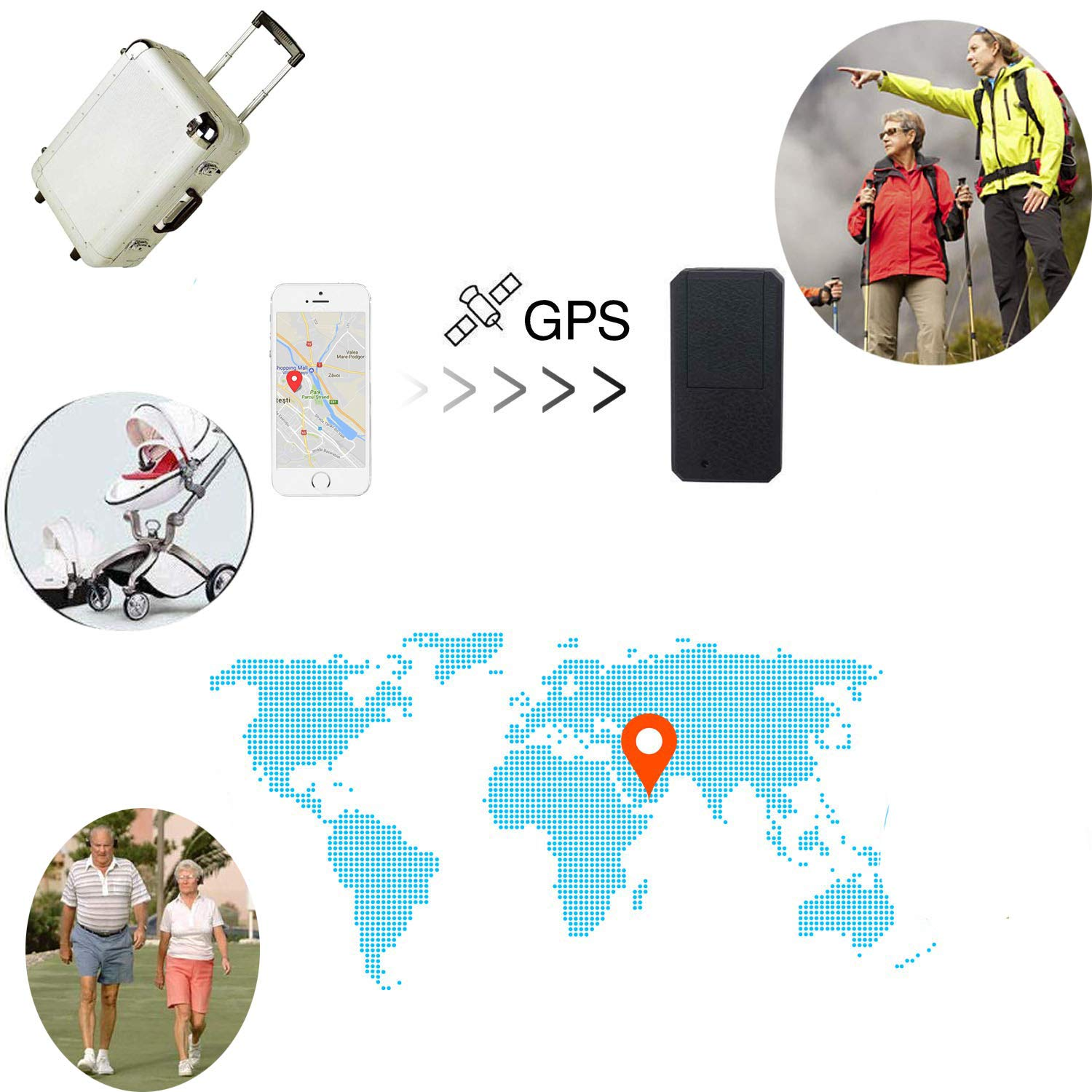 GPS Tracker TKSTAR Anti-Theft Real Time App GPS Locator Tracking Device TK901 BE