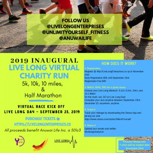 Inaugural Live Long Virtual 5k, 10k, 10 miler, and Half Marathon